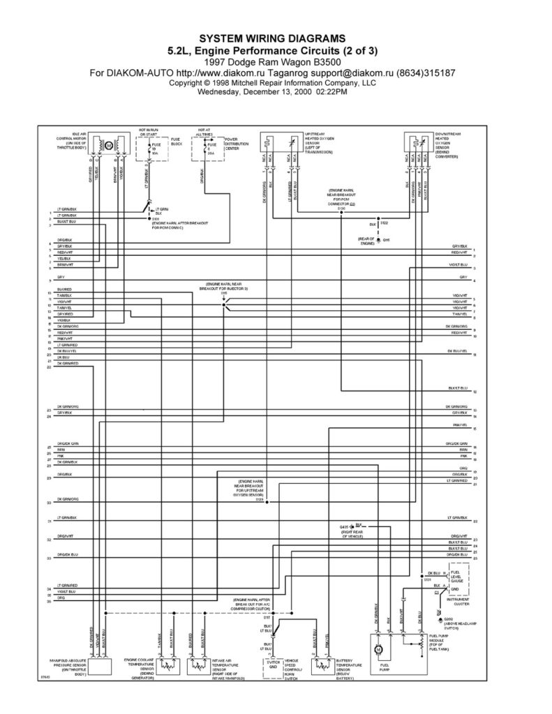 1997 Dodge Ram Wagon B3500 System Wiring Diagram 5 2L