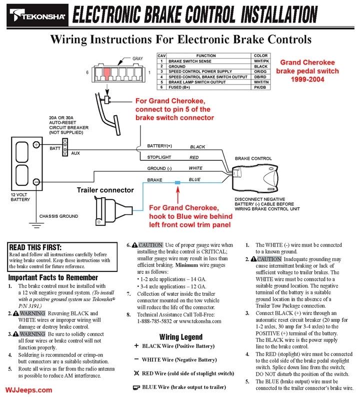 Tekonsha P3 Prodigy Electric Trailer Brake Controller Wiring Diagram
